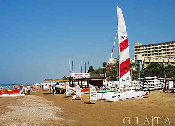 Strand von Side, Türkische Rivera, Türkei ( Urlaub, Reisen, Lastminute-Reisen, Pauschalreisen )