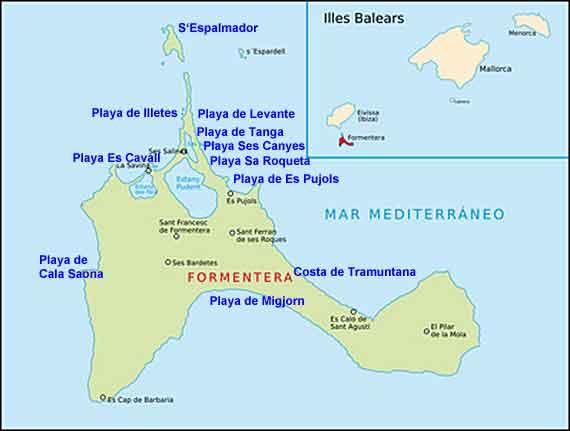 Formentera, Balearen - Karte mit Stränden ( Urlaub, Reisen, Lastminute-Reisen, Pauschalreisen )