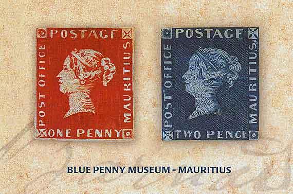 Indischer Ozean, Mauritius - Port Louis Museum Rote und Blaue Briefmarke ( Urlaub, Reisen, Lastminute-Reisen, Pauschalreisen )
