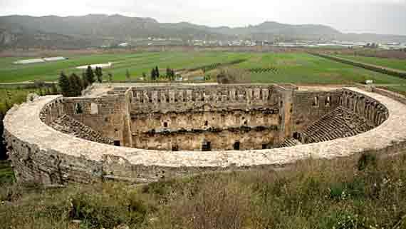Aspendos-Amphitheater, bei Antalya, Türkische Riviera, Türkei ( Urlaub, Reisen, Lastminute-Reisen, Pauschalreisen )