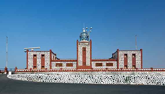 Faro Punta de la Entallada bei Gran Tarajal, Fuerteventura, Kanaren ( Urlaub, Reisen, Lastminute-Reisen, Pauschalreisen )