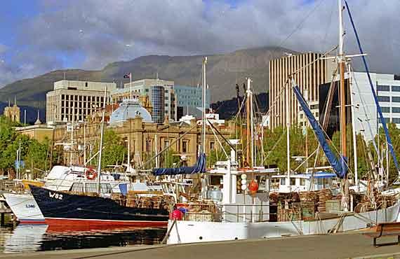 Australien, Tasmanien - Hafen von Hobart ( Urlaub, Reisen, Lastminute-Reisen, Pauschalreisen )