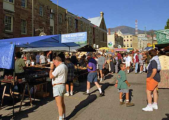 Australien, Tasmanien - Markt in Hobart ( Urlaub, Reisen, Lastminute-Reisen, Pauschalreisen )