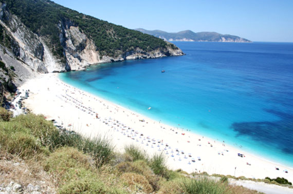 Griechische Insel Kefalonia (Ionische-Inseln) - Myrtos Strand ( Urlaub, Reisen, Lastminute-Reisen, Pauschalreisen )