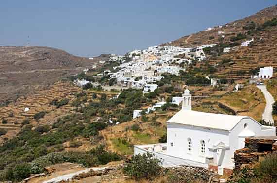 Griechische Insel Tinos (Kykladen Inseln) - Kirche vor dem Dorf Isternia ( Urlaub, Reisen, Lastminute-Reisen, Pauschalreisen )