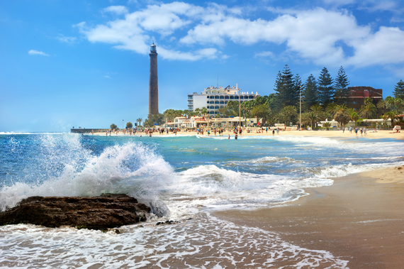 Gran Canaria - Strand mit Lighthouse of Maspalomas